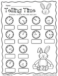 Cinco De Mayo Food Discover Easter Math Freebie Easter Math--Telling time--FREE--Second grade and write time to the nearest five minutes Teaching Time, Teaching Math, 2nd Grade Math Worksheets, Math 2, Free Math, Clock Worksheets, Rhyming Worksheet, Easter Worksheets, Blends Worksheets