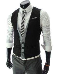 TheLees Mens slim fit chain point 3 button vest#Gillet