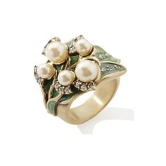 "Heidi Daus ""Lily of the Valley"" Crystal-Accented Enamel Ring"