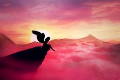 Silhouette of a lonely fallen angel with long wings standing on a cliff against a paradise sunset. Dusk sky over the clouds in the mountains. Angel Images, Angel Pictures, Art Pictures, Angel Silhouette, Dusk Sky, Angels Beauty, Yoga, Scenery, Instagram Images