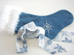 Blue Jean Christmas Stocking Made from Vintage Denim with Hand Beaded Snowflake