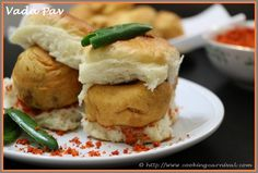 Vada Pav, sometimes spelled Wada pava or Vada Paav or Vada Pao, is a vegetarian fast food dish native to the Indian State of Maharashtra, consisting of a potato fritter in a bread bun. It originated as cheap street food in Mumbai, but is now offered in stalls and restaurants throughout India. It is also called Mumbai's very own burger. It is served with hot and spicy garlic chutney and green chilies. Grab a quick vada pav and steaming hot cup of tea in rainy day