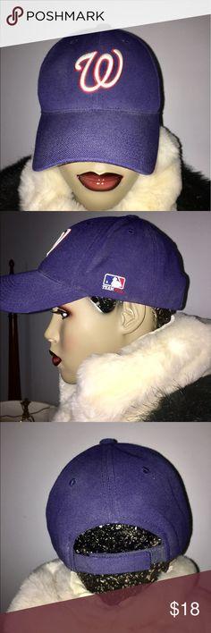 TEAM MLB WASHINGTON NATIONALS CAP TEAM MLB WASHINGTON NATIONALS BLUE BASEBALL OUTDOOR CAP NEW WITHOUT TAGS OS VELCRO ADJUSTABLE TEAM MLB Accessories Hats