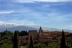 Alhambra view from the Albycyn, Alhambra Gardens, Granada, Andalucia, Spain