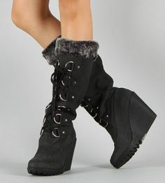 £39.99 Shoehorne Fedel-05 - Womens Black Nubuck Lace up Faux Sheepskin Fur trim cuff Shearling lining Wedge Knee High Lace-Up Boots - Avail in Ladies Size 2-8 UK: Amazon.co.uk: Shoes & Accessories