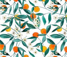 Orange Summer fabric by joy_and_ink on Spoonflower - custom fabric