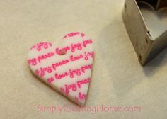 Cornstarch Dough Stamped Hearts for Valentines Day, Recipe and Tutorial...I love how she stamped these with pink ink!