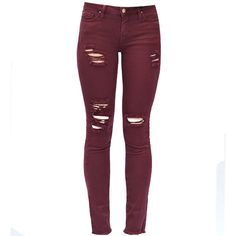 IRO Jarod Jean in Burgundy (5.890 UYU) ❤ liked on Polyvore featuring jeans, pants, bottoms, red, calças, white skinny jeans, white distressed jeans, white destroyed jeans, white jeans and white skinny leg jeans