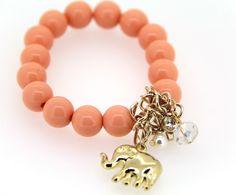 Stylish Korean Orange Handmaking Elephant Pendant Alloy and Crystal Ornaments for Girls