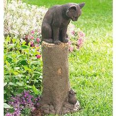 Cat and Mouse Sculpture, excellent ornament for garden.
