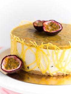 Raikas Passionjuustokakku (GL)   Annin Uunissa Passionfruit Cheesecake, Cheesecakes, Deli, Camembert Cheese, Sweet Treats, Dairy, Pie, Baking, Desserts