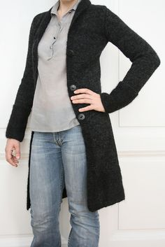 "Ravelry: Project Gallery for 110-5 a - Long, tailored jacket in ""Alpaca"" and ""Vivaldi"" with belt pattern by DROPS design. I might well be more inclined to sew a dramatic, historically-inspired coat than knit this."