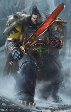 Space Wolf Ragnar, done for Games Workshop. Warhammer 40k Space Wolves, Warhammer 40k Art, Warhammer Fantasy, Space Marine, Martial, Dc Comics, The Grim, Ragnar, Sci Fi Fantasy