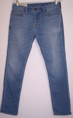 Hollister Jeans 30 Men's Slim Skinny Vintage Wash Stretch Denim Pants 30 X 30 #Hollister #SlimSkinny