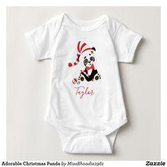 Adorable Christmas Panda Baby Shirt  #christmas #baby