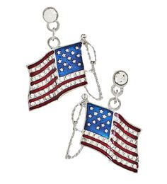 American flag drop earrings featuring small diamond like crystals in the stripes and small dots for the stars on a blue enamel background. Gold or silver plate. Price: $14.50  #American flag earrings #American flag drop earrings #patriotic earrings  http://www.starsandstripesproducts.com/american-flag-drop-earrings/