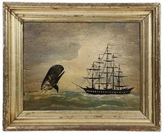 Circa 1840 Naive Whaling Scene, oil on heavy pine plank, unsigned, depicting a right whale breech.