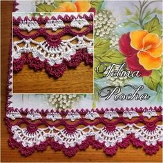 Barradinho Glamuroso - PAP                                                                                                                                                      Mais Crochet Lace Edging, Crochet Borders, Crochet Stitches Patterns, Doily Patterns, Crochet Squares, Thread Crochet, Crochet Trim, Crochet Designs, Crochet Doilies