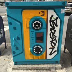 cassette tape painted traffic control box, great scott allston http://seenaroundboston.com/cassette-tape-and-loudspeaker-painted-traffic-control-boxes/