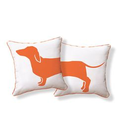 This Orange & White Dachshund Reversible Pillow is perfect! #zulilyfinds