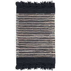Safavieh Handmade Vintage Boho Leather Zhanna Modern Stripe Leather Rug with Fringe x - Black/Multi) Accent Rugs, Rug Material, Woven Rug, Vintage Leather, Black Stripes, Contemporary Style, Rug Size, Size 2, Rug Runner