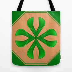 The green Shape Tote Bag - printed Tote Bag with the green Fantasy Design on both Sides.