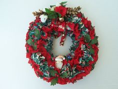 12 Holiday Fabric Wreath Indoor Front Door Wall Hanging by 2lewa
