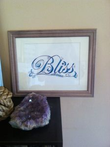 Bliss! It's a perfect last name! Hand drawn wall art!