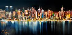 New York Lights Kal Gajoum Abstract Flower Art, Abstract Wall Art, City Landscape, Landscape Paintings, Art Encounters, City Painting, Art Competitions, New York Art, A Level Art