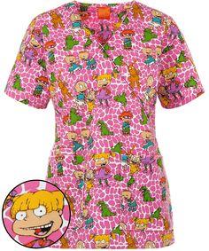 72823378b29 Shop for cute cartoon scrubs and pediatric scrubs here at Uniform  Advantage! Check out the Nickelodeon™ Rugrats Reptar Mock Wrap Print Scrub  Top today.