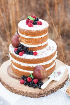 The naked cake trend is here to stay! | Pomegranates and Berries Vintage Inspiration via @rusticfolkbride