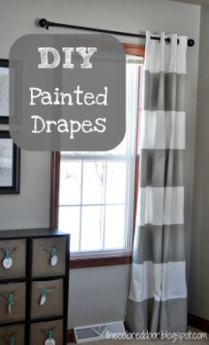Easy DIY painted drapes, love the stripes - the colored door