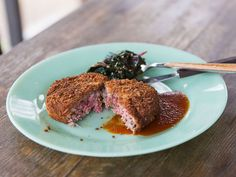 Amy Thielen combines her Midwestern roots with a Japanese fast-food favorite for this crunchy burger coated in pretzel and panko breading, fried in peanut oil, and topped off with a sweet-savory sauce made from browned butter, ketchup, sake, and a dash of fresh ginger. Serve it with a cold Swiss chard dish as a side.