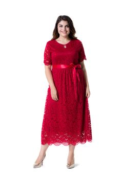 e8c83e56de0 Amazon.com  ESPRLIA Women s Plus Size Short Sleeves Mother of The Bride  Cocktail True Wrap Lace Dress  Clothing