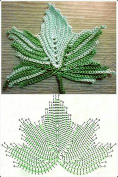 Learn how to make crochet leaves concepts and video Crochet Leaf Patterns, Crochet Leaves, Crochet Motifs, Crochet Diagram, Freeform Crochet, Crochet Chart, Thread Crochet, Crochet Designs, Crochet Doilies