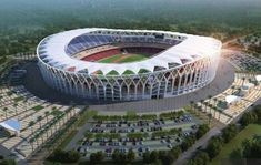 China has announced it will finance construction of a capacity stadium - Stadium of Ebimpe - in Ivory Coast in readiness for the 2021 Africa Cup Concept Architecture, Modern Architecture, Commercial Landscape Design, Cfa, Africa Continent, Drainage Channel, Olympic Gold Medals, Felder, Construction