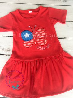 Fourth of July Dress - Butterfly Shirt - 4th of July Butterfly Shirt - 4th Of July T-Shirt - Girls 4th of July Shirt - Patriotic Butterfly