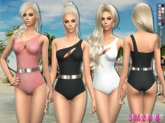 One Shoulder Swimwear by sims2fanbg at TSR via Sims 4 Updates