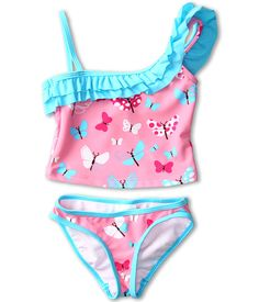 Hatley Kids Girls' One Shoulder Two-Piece Swimsuit (Toddler/Little Kids) Flying Butterflies