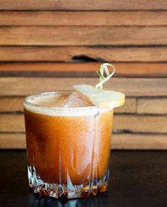 Good Ol' Boy Brown Butter Cocktail - 1½ oz. brown butter bourbon ½ oz. Luxardo Amaro Abano 1½ oz. pear nectar ¾ oz. spiced burnt-orange syrup ½ oz. lemon juice 2 dashes Angostura bitters