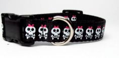 Black and White Skulls with Pink Bows Dog by KibblesandCollars, $7.97