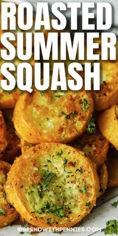 Vegetable Sides, Side Dishes Easy, Vegetable Side Dishes, Side Dish Recipes, Veggie Recipes, Cooking Recipes, Summer Vegetable Recipes, Easy Recipes, Oven Roasted Squash