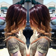 Red violet to blonde balayage ombre! So pretty! #ombre #balayage #utahhairstylist #utahhair ...