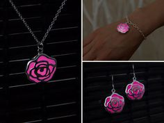 SET pink rose jewelry Rose flower jewelry Girlfriend gift