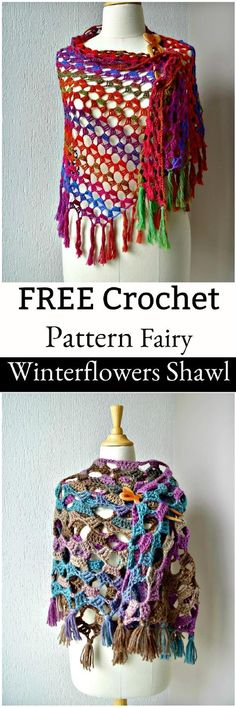FREE Crochet Pattern – Fairy Winter flowers Shawl: - 20 Free Crochet Summer Poncho Patterns for Women's - Page 3 of 3 - DIY & Crafts