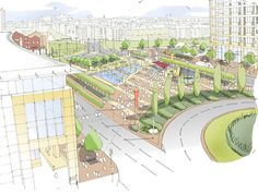 Hatcher Prichard Architects_Bristol Cardiff_Architectural Sketches_Callaghan Square Cardiff