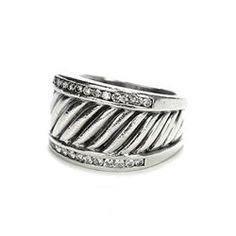David Yurman Sterling Silver Diamond Silver Ice Cigar Band Ring