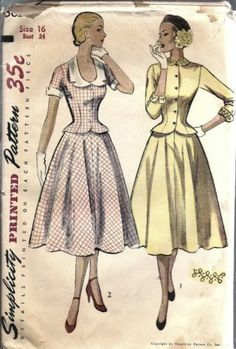 Vintage Simplicity Sewing Pattern Misses 1950's Two Piece Dress Collar Cuff 3624