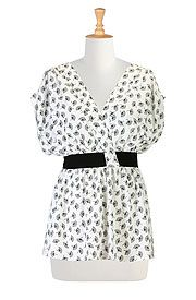 Faux wrap pleated blouse