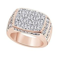 2.68 Ct Round Cut 14K Rose Gold Over Cluster Men's Wedding Band Ring # Free Stud Earrings by JewelryHub on Opensky